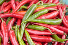 Red & Green Chillies. In close up stock photo