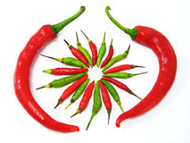 Red and Green Chillies Royalty Free Stock Photos