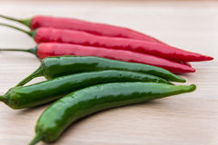 Red and green chillies Stock Images