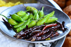 Red and Green Chillies Stock Photography