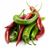 Red and green chillis royalty free stock image