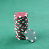 Red and green chip stack Royalty Free Stock Images