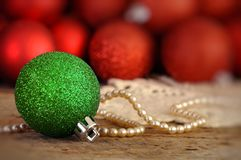 Red and green Christmas balls Stock Photo