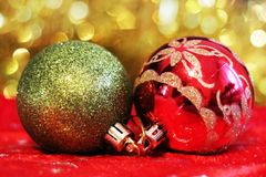 Red and green christmas balls. Merry christmas card. Winter xmas theme. Stock Images