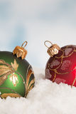 Red and green christmas baubles Royalty Free Stock Photography