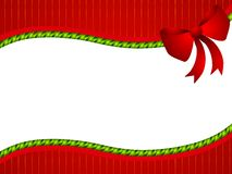 Red Green Christmas Bow Border. A background illustration featuring red striped pattern, green twisted ribbon and big red bow as a swoosh for use as background Stock Photos