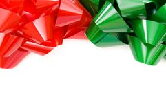 Red and green Christmas bows Royalty Free Stock Photography