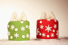 Red and green Christmas cakes Stock Images