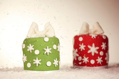 Red and green Christmas cakes Royalty Free Stock Photos