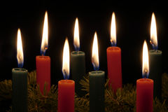 Red and Green Christmas Candles Royalty Free Stock Photo
