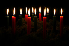 Red and Green Christmas Candles Stock Image