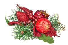 Red and green christmas decoration on white Stock Photos