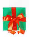 Red and green Christmas gift with ribbon isolated Stock Photography