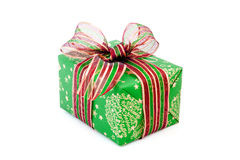 red and green Christmas gift with ribbon isolated Royalty Free Stock Photography