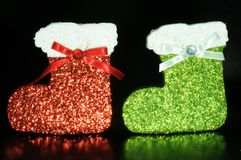 Red and green christmas gift sock Stock Photography