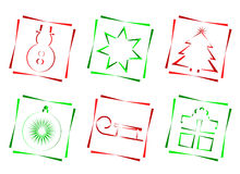 Red and green christmas icons Stock Photos