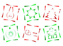 Red and green christmas icons Stock Images