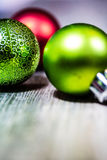 Red and Green Christmas Ornaments Background Stock Images
