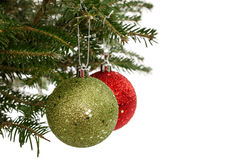 Red and Green Christmas Ornaments Stock Image