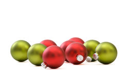 Red and green Christmas ornaments Stock Images