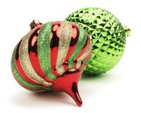 Christmas Ornaments. Red and green Christmas ornaments  white Stock Photos