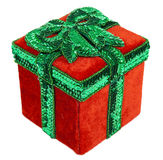 Red and Green Christmas Present Box with Bow Stock Images