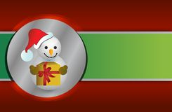 Red and green christmas snowman background Royalty Free Stock Images