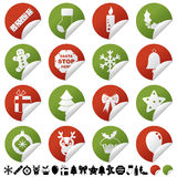 Red and green christmas stickers Royalty Free Stock Photo