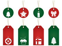 Red and green christmas tags Stock Photography