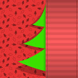 Red and green Christmas tree card design Royalty Free Stock Photo