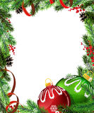 Red and green Christmas tree decorations with red  Royalty Free Stock Photography