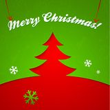 Red and green Christmas tree vector applique Royalty Free Stock Photo