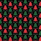 Red and green christmas tree pattern on black background vector illustration