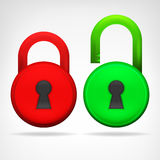 Red green circular padlock object design  Stock Photo
