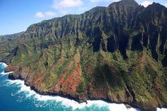 Red-green cliffs of Na Pali coast Royalty Free Stock Image