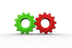 Red and green cog and wheel Stock Photos