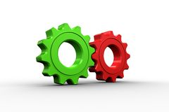 Red and green cog and wheel Stock Images