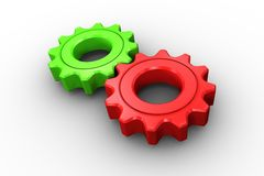 Red and green cog and wheel Royalty Free Stock Photo