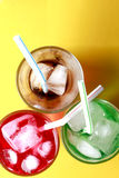 Red, green and cola soda fizzy drinks Stock Photo