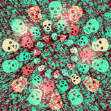Red and green creepy Halloween background with shining skulls Stock Photo