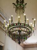 Red and Green Crystal Prisms. This chandelier contains red, green, and clear crystal prisms stock photos