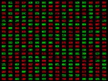 Red and green currency codes. A background of red and green currency codes stock illustration