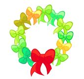 Red and Green Cute Bows Wreath Stock Images