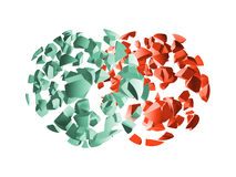 Red and green 3d explosion spheres fragments. On white background vector illustration