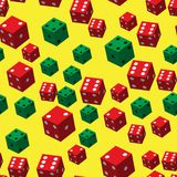 Red Green Dice Seamless Pattern, 3D illustration. On Yellow Background royalty free illustration