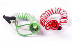Red and green diodes  isolated on white Royalty Free Stock Photography