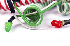 Red and green diodes  isolated on white Stock Image