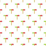 Red and green direction sign pattern cartoon style Royalty Free Stock Photo