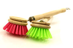 A red and green dish washing brush Royalty Free Stock Photography