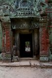 Red and green door. A red and green patina of ancient ruins cambodia Stock Photography
